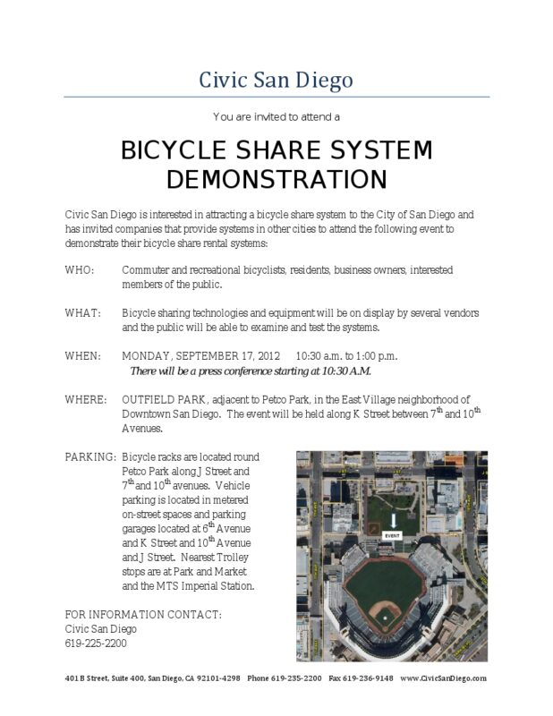 Bike San Diego Event Bicycle Share Event Notice