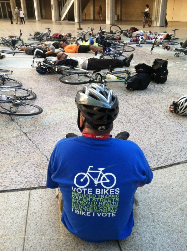 I Bike. I vote. Photo from the last memorial ride die-in held at City Hall.