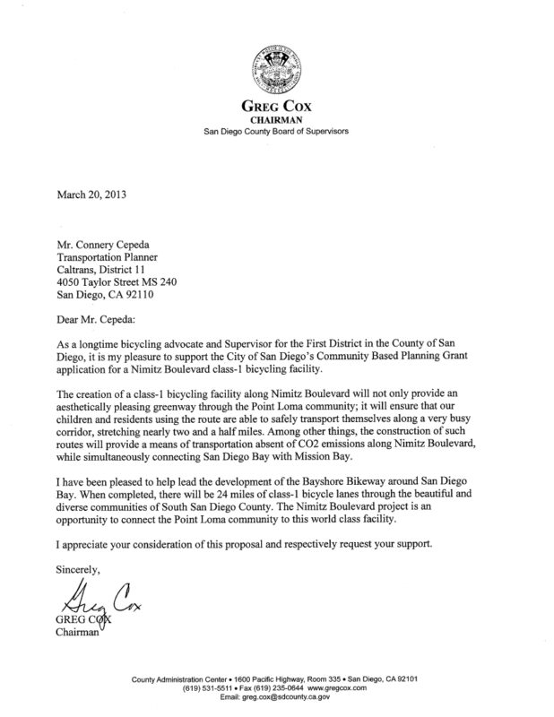 Greg Cox Support Letter