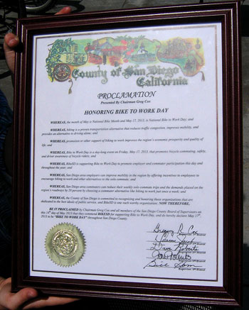 """This is the Proclamation given by the San Diego County Board of Supervisors to BikeSD for """"Bike to Work Day 2013"""". Photo: Kelly Cummings"""