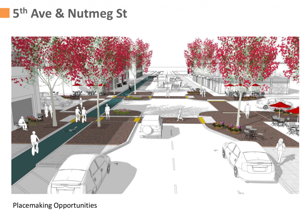 5th Avenue at Nutmeg in the future will look much better than it does tomorrow. Image: SANDAG