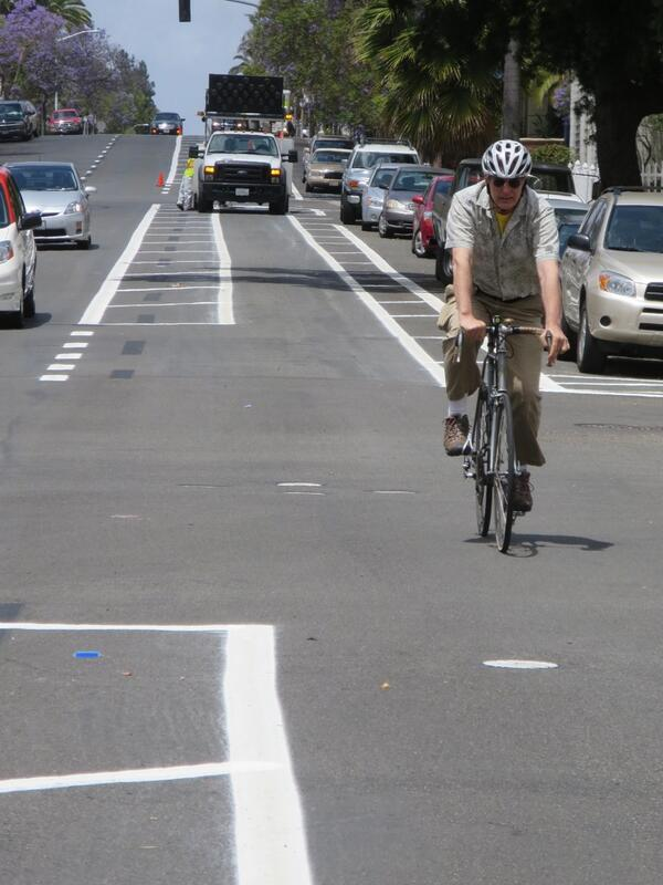 Bankers Hill Resident Enjoys Riding on San Diego's Buffered Bike Lanes. Photo: Adrian Granda