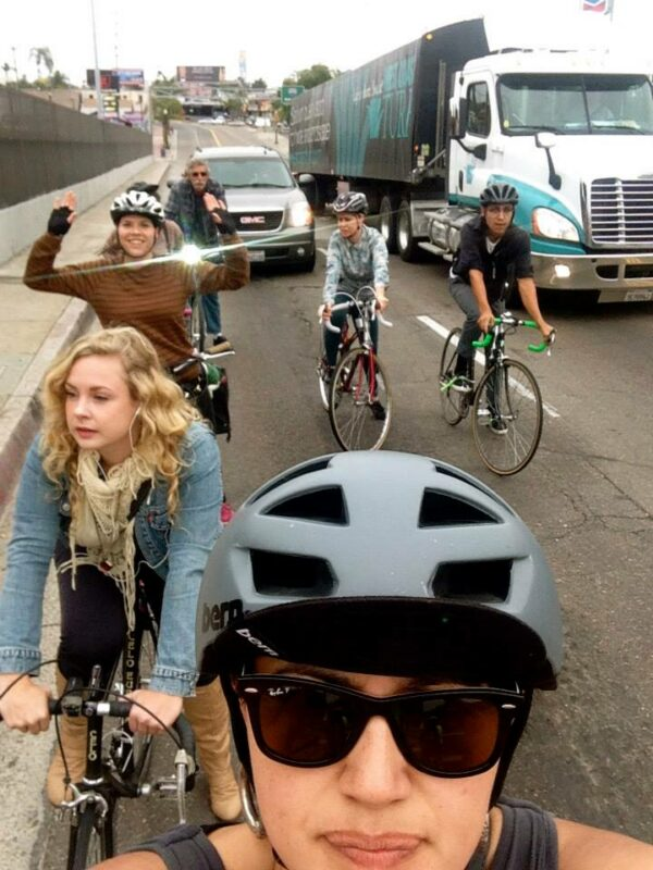 San Diego can be a tough place to ride when one has to share road space with big trucks. Photo: Veronica Medina