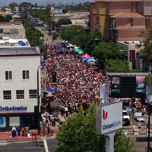 Yesterday's World Cup Match between Germany and Argentina was broadcast on 30th Street thanks to efforts by North Park Main Street. An excellent use of our largest public space: our streets. Photo: Bruce Shank
