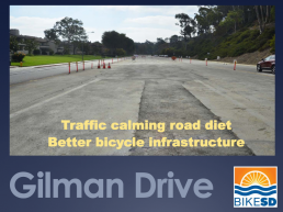 Cover slide of the Gilman Drive road diet presentation, November 2018, by Judi Tentor