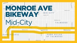 map/graphic of Monroe Ave Bikeway Project, mid-city, san diego
