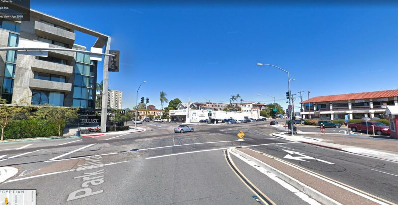 Street view of Park and Robinson intersection 2018