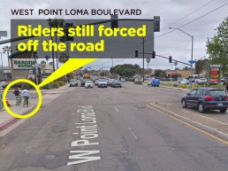West Point Loma Blvd. showing cyclists riding on sidewalk, 2019