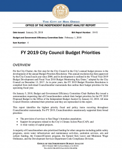 City Council budget priorities 2019