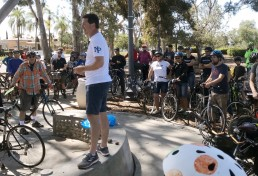 Councilmember Chris Ward addresses the 30th Street ride
