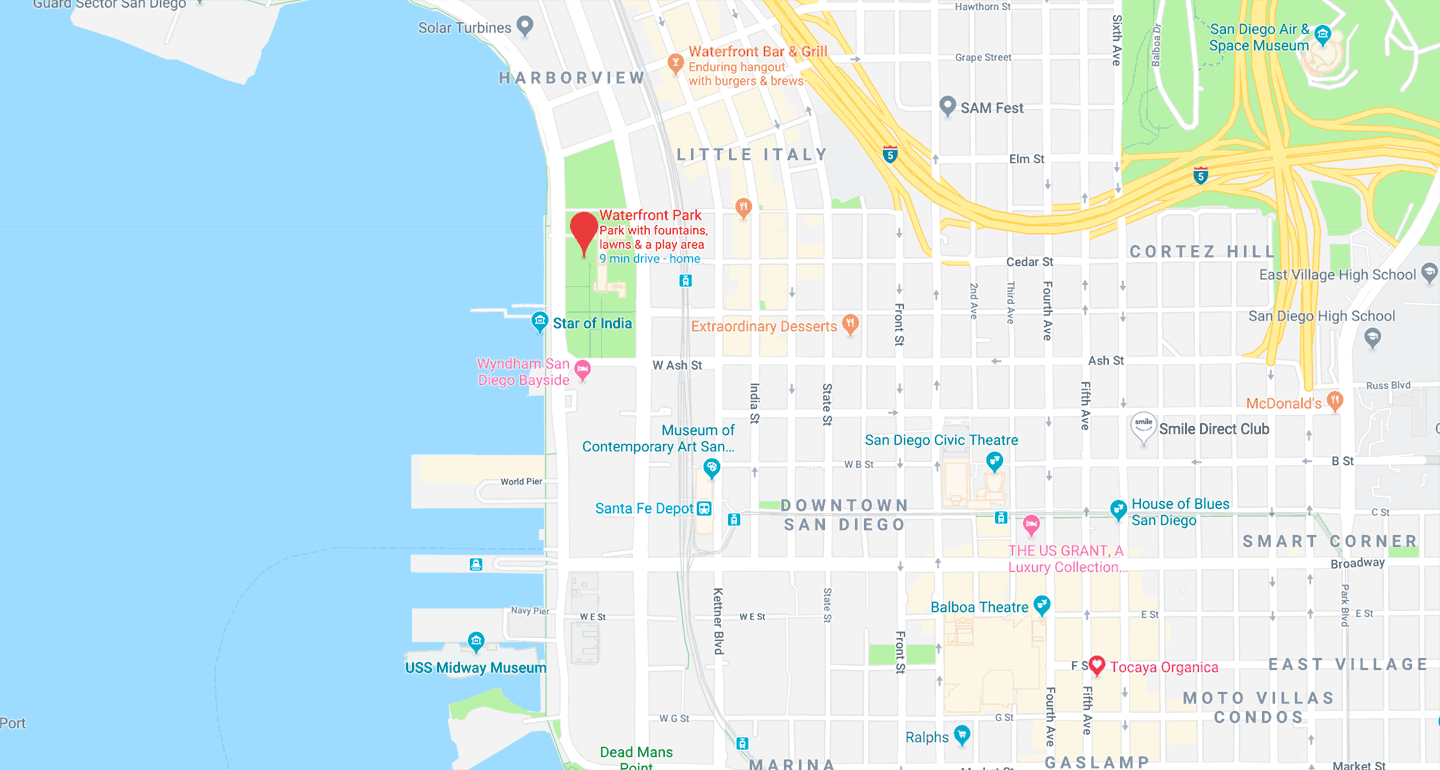 map showing Waterfront Park, San Diego