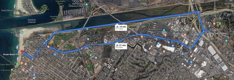 Upon completion of the western segment of W. Pt Loma this fall, biking options will look like this.