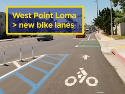 Upon completion of the western segment of W. Pt Loma this fall, biking options will look like this. Explore the W. Pt Loma + Sports Arena Blvd corridor in this google map.
