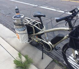 Adam's cargo bike with a keg strapped to the rear.