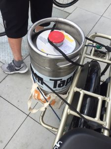 Cargo bike with beer keg
