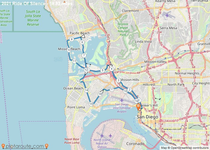Map of proposed Ride of Silence route for 2021.  Old town to Pacific Beach and back.